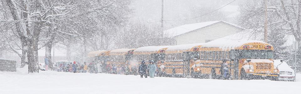 Snow and busses