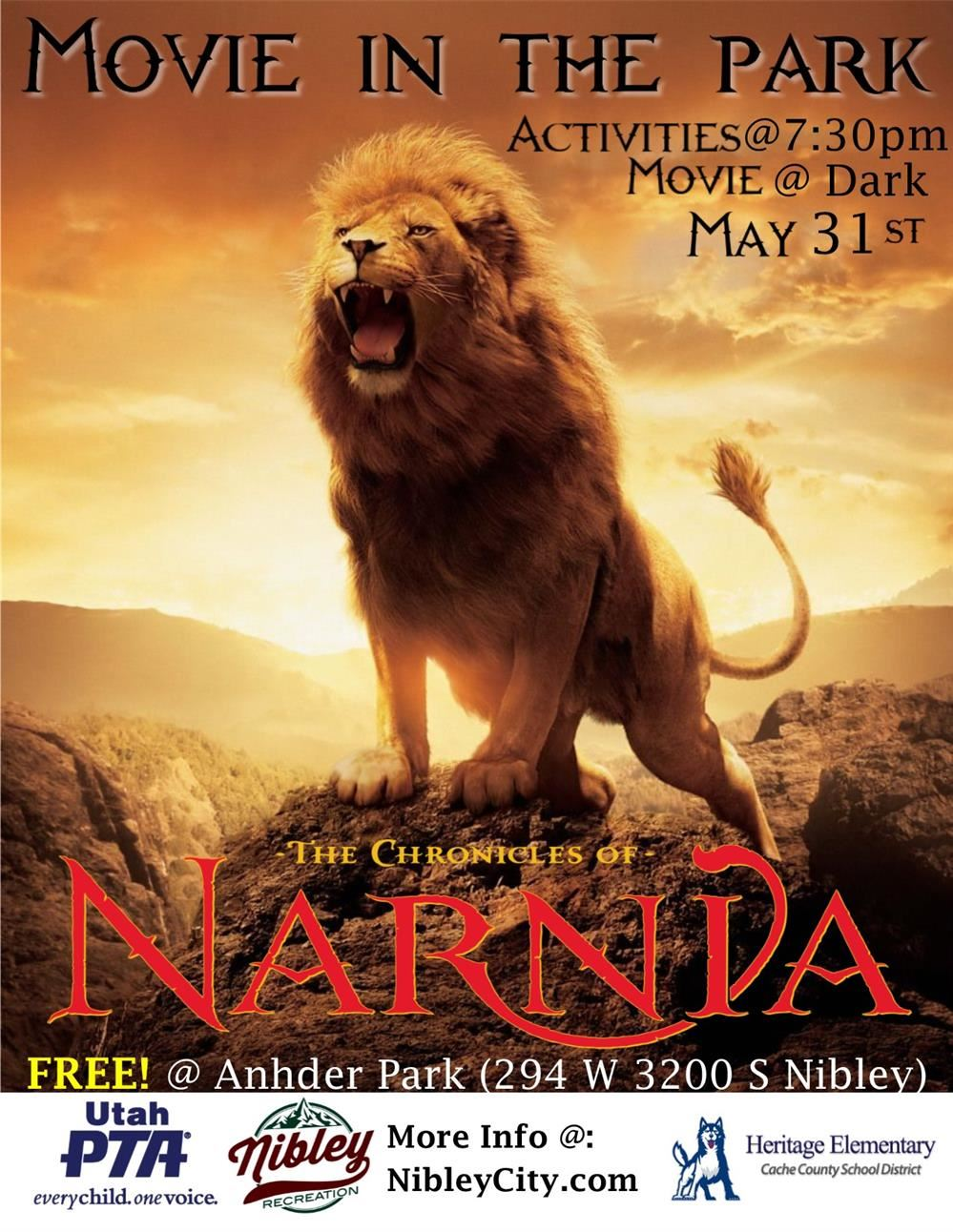 Movie in the Park May 31, activities starting at 7:30 pm, movie starts at dark. Anhder Park Nibley