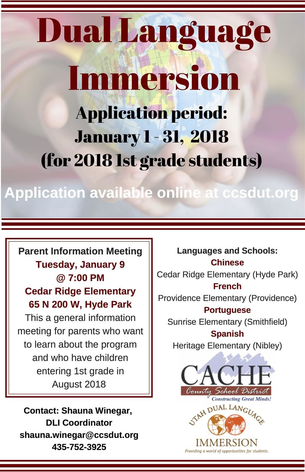 Applications for the Dual Immersion Language Program open January 1-31