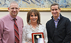 Principal Troy Pugmire, Greenville Teacher of the Year Tami Kidman, board member Chris Corcoran