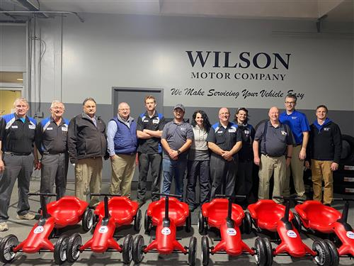 Wilson Motor employees generously donated time to assemble the pumper cars
