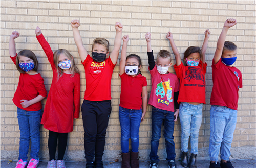 students wear red for Red Ribbon Week